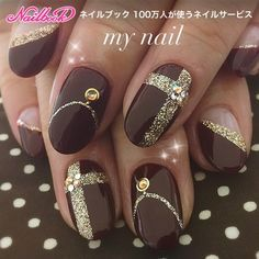 69 super ideas for nails brown gold manicures nailart Gold Manicure, Gold Nails, Manicure And Pedicure, Diy Nails, Cute Nails, Pretty Nails, Perfect Nails, Gorgeous Nails, Holiday Nails