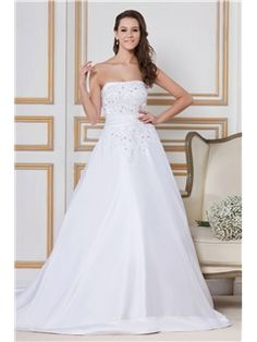 Pretty A-Line Strapless Chapel Beading Sandra's Bridal Gown