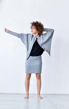 Entspannte Jacke in Grau mit Fledermausärmeln, lässiges Outfit / loose fit jacket, oversized, light grey, trend fashion made by KOKOworld via DaWanda.com