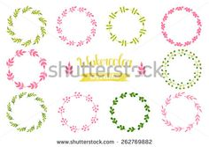 Watercolor set of wreaths, frame, border, ribbon, label, floral elements. Hand drawn watercolor design elements isolated on white background