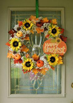 Large Fall Wreath with Sign, Fall Wreath for Front Door, White Fall Wreath, Pumpkin Wreath, Autumn Wreath, Farmhouse Wreath, Happy Harvest
