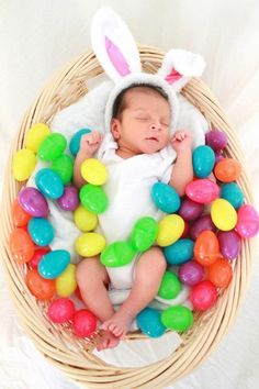 Newborn Easter photo. Easter eggs, basket, sheet for background. Easy as pie!