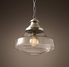 RH's Parisian Architectural Clear Glass Brasserie Pendant:Inspired by the City of Light, our replicas of vintage Parisian architectural fixtures highlight their functional, serviceable beauty. Our reproduction, nearly identical to the original design, offers a clear class shade that amplifies the light.