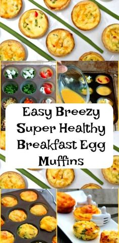 There is nothing better than starting the day with the right kind of foods. Healthy breakfast ideas are the best. Easy Breezy Super Healthy Breakfast Egg Muffins are just perfect for the entire family. Easy, healthy and you can choose your favorite toppin Brunch Recipes, Breakfast Recipes, Breakfast Kids, Breakfast Muffins, Breakfast Casserole, Breakfast Quesadilla, Breakfast Smoothies, Diet Breakfast, Muffin Recipes