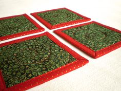 Christmas Quilted Coasters  Stars and Leaves  4 by PatchworkMill, $15.00