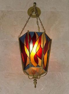 Collaborations & Commissioned Works, Stained Glass Ner Tamid. My design, created by glass artist Susan Fulenbaum
