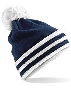 a35a3e55 Beechfield Varsity Mens Winter Beanie Hat (One Size) (Burgundy / White):  Contrasting pom pom and striped cuff. Cuffed design for optimal decoration.