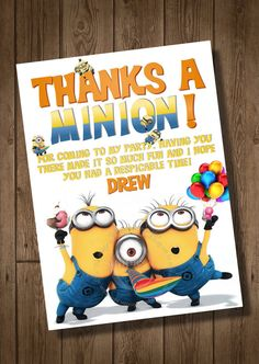 Despicable Me Thank You Card to Match Despicable Me Birthday Party Invitation - Digital Print File - My Celebration Shoppe - Diy Printables