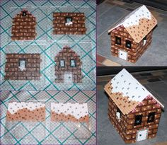 My very own gingerbread house. I made a sketch on paper to get the dimensions and mortar pattern set, and then spent a few hours putting it together. One correction to the Before picture of the walls:...