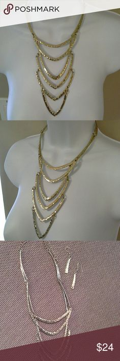 NWOT**** Chic multilayered necklace with earrings New, never worn gold tone necklace Hannah collection  Jewelry Necklaces