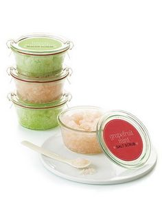 Bath salts.  Can be put in an ice cream soda or dessert glass, topped with a bath scrubbie and a red bath bead.