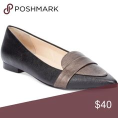 Cole Haan Ambrose Skimmer leather flats size 6B MSRP: $138.00  Flattering pointed toe. Contrast vamp and decorative strap. Slip-on construction. Fully padded sock lining. Leather sole. Imported.  Pointed-toe loafer in crosshatch texture with contrast-tone vamp and toe strap Fully padded sock lining Grand.OS technology for comfort This pair is in excellent used condition Colors are pewter  and black. Cole Haan Shoes Flats & Loafers