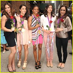 Kyla Ross, Jordyn Weiber, McKayla Maroney, Aly Raisman and Gabby Douglas show off their roses they received from David Letterman outside the Ed Sullivan Theater in new York City on Tuesday afternoon (August 14).    The Fierce Five stopped by The Late Show with David Letterman and chatted about which other Olympic sport they would've liked to pursue.