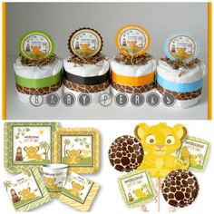 4 Mini Lion King Diaper Cakes  READY TO SHIP  Baby by MsPerks