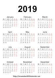 Free Yearly 12 Month Calendar One Page Template Printable with Holidays