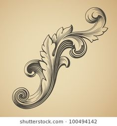 vector vintage Baroque design frame pattern element engraving retro style scroll Baroque Design, Filigree Design, Mom Tattoos, Tattoos For Guys, Filigrana Tattoo, Mago Tattoo, Styrofoam Art, Pencil Drawings Of Flowers, Free Hand Rangoli