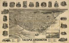 Vintage Map of Tacoma Washington 1893 Pierce County