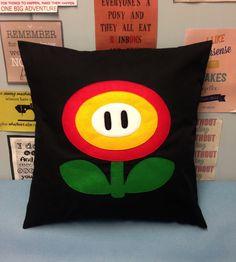 Fire Flower Black Super Mario Bros Retro Cushion by BeUniqueBaby