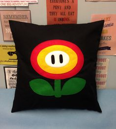 Fire Flower Black Super Mario Bros Retro Cushion by BeUniqueBaby