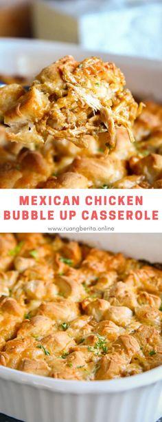 Mexican Chicken Bubble Up Casserole #maincourse #dinner #mexican #chicken #bubbleup #casserole