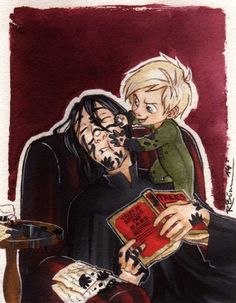 Hahaha. Draco painting Snape's face. Beautiful.