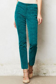 Anthropologie Flocked Charlie Trousers Sz 10 Turquoise Crops Pants By Cartonnier #Cartonnier #CaprisCropped