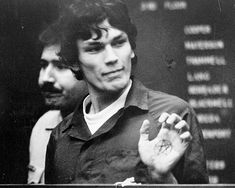 Richard Ramirez  Los Angeles Times  In court in 1985, Richard Ramirez flashes a pentagram drawn on the palm of his hand. Similar symbols were found in his car, his jail cell and at the Los Angeles area homes of some of his 13 torture-murder victims.