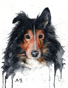 "This is the custom watercolor portrait of our dog, Ben that I had done last year. The artist did such an amazing job, and was great to work with. Click the link, and it will take you to the Etsy store where I purchased it from. Ben's original portrait is a 10x13"" size. It came from the artist with a charcoal grey mat, and I bought a black frame from Hobby Lobby. Luke has his done too, and they look beautiful hanging side by side."
