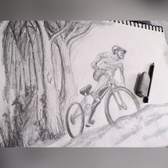 First attempt at drawing my dad mountain biking for Father's Day. I haven't yet figured out if I want to paint or draw the final one. Although there is one other photo of him I love that could end up better... #drawing #art #adventure #dad #fathersday #pencils #passingthetime #timeofftoheal #mountainbiking #mtb #crazydad #family #soso #snowboardinginjury #borntotry #bestpersoniknow #nature #learntoride #live3280 #love3280 #keepbusy #keephappy #havefunordietrying #portrait by razzelmadazzel