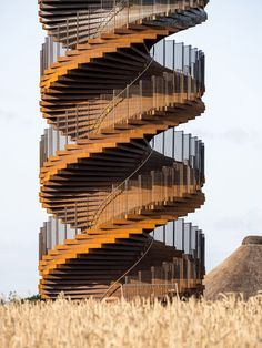 Danish architecture studio BIG has revealed new images by Rasmus Hjortshøj of Marsk Tower, its spiralling double-helix viewing tower that recently opened to the public in southwestern Denmark. The 25-metre-tower is located in the UNESCO world heritage site of Wadden Sea National Park and was constructed from Corten steel. Timber Ceiling, Lookout Tower, Travel Center, Big Photo, Corten Steel, North Sea, World Heritage Sites, New Image, Denmark