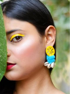 Zoya Pom-pom Shell Earrings – Krafted with Happiness Thread Jewellery, Textile Jewelry, Fabric Jewelry, Pom Pom Jewellery, Shell Choker, Shell Earrings, Earrings Crafts, Earrings For Saree, Fabric Earrings