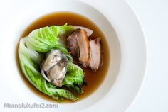 Ko Kimchi Consommé with Pork Belly, Napa Cabbage and Oysters