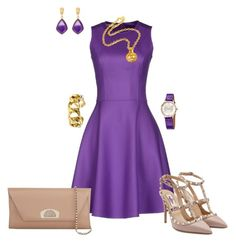 Violet day dress outfit created by tsteele by tsteele on Polyvore featuring polyvore, fashion, style, Michael Kors, Valentino, Christian Louboutin, Chanel, Hermès, women's clothing, women's fashion, women, female, woman, misses and juniors