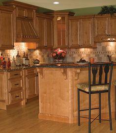 Oak cabinets and granite!