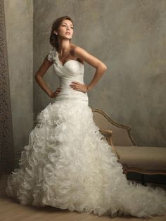 Ivory One Shoulder Ruffles Floral Ball Gown Vintage Wedding Dresses  $245.99 Designer Wedding Dresses