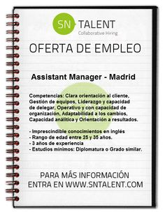 Assistant #Manager en #Madrid