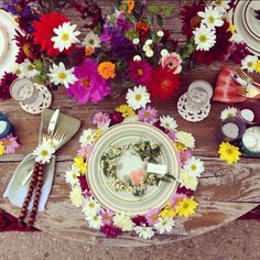 """The designers at Sweet Emilia Jane set a """"Woodstock Table"""" full of gerbera daisies—perfect for the free-spirited, music-loving bride—at a charity event in Santa Barbara, California. Design and Florals: Sweet Emilia Jane Venue: Private Orchid Greenhouse"""