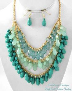 Elegant Aqua & Teal Blue Multi Row Teardrop Charms Fashion Necklace Set