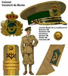 Romania, Vanatorii de Munte colonel uniform - pin by Paolo Marzioli Romania Map, Military Art, Military Uniforms, Central And Eastern Europe, World War Two, Troops, Art Reference, Wwii, Two By Two