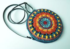 Crocheted Bag PATTERN - Round purse with Mandala  - overlay crochet - Small Crossbody bag with Strap - instant download