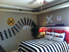 Train bedroom - generic bedspread with train accents
