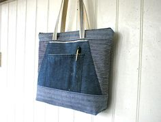 SALE Indigo stripe denim bag selvedge denim zipper top  eco
