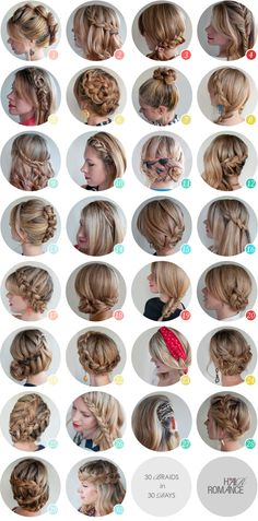 30 day hair challenge; there are some pretty cool braid ideas on here.. and if you click the link there's some info on an ebook with step by step instructions for all of these lovely styles xD