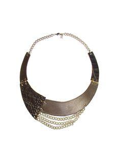 Dark Brown Leather Necklace  Bib Necklace  genuine by FILIZASLI, $37.50