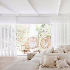 View from the lounge—House By Three Birds Renovations x Sophie Bell, featuring Dulux White on White. White Beach Houses, White Lounge, Custom Drapes, Relax, Cottage Interiors, Living Room Inspiration, Living Area, Living Rooms, Drapes Curtains