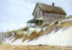 """Edward Hopper -  """"House of Dune, South Truro""""  ca. 1931  watercolor over pencil"""