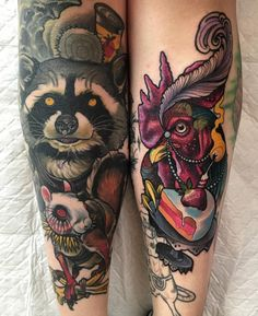 Raccoon and Cock Tattoo Design