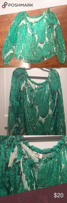 Milly Ikat Blouse Gorgeous Milly Ikat Green and white blouse. Worn a handful of times, excellent condition, purchased from a sample sale. Fits like a medium 6/8 Milly Tops Blouses