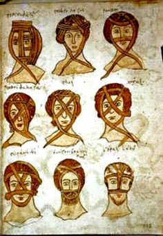 "16th century.French ""Nine kinds of Head Bandages"" Bologna, Biblioteca Universitaria gr. 3632, folio 385r. From the Mackinney Collection of Medieval Medical Manuscripts – http://www.lib.unc.edu/dc/mackinney/"