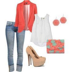 Nude red pink blazer jeans high heels outfit cute clothes